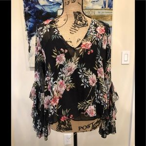 Black floral intermix blouse